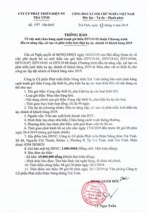 Thông báo mời chào hàng cạnh tranh gói thầu DTV19-03 ngày 17 - 04 - 2019