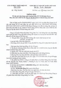 Thông báo mời chào hàng cạnh tranh gói thầu DTV19-08 ngày 17 - 04 - 2019