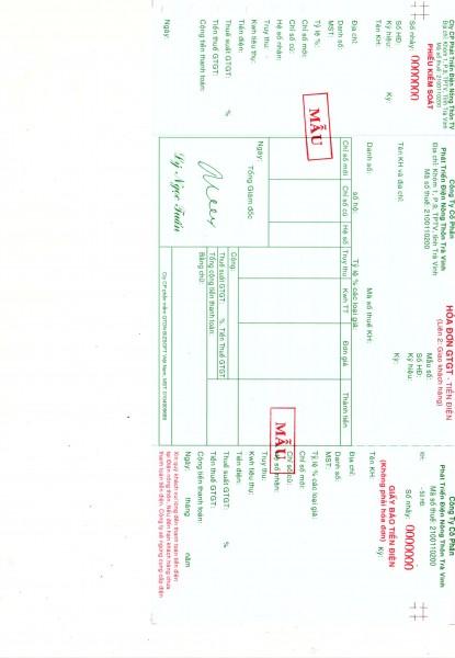 Thông báo chào giá cung cấp phôi hóa đơn tiền điện