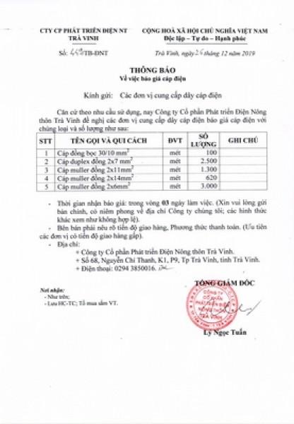 Thông báo về việc báo giá cáp điện ngày 26/12/2019