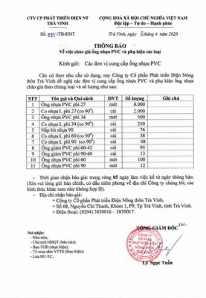 Thông báo chào giá ống nhựa PVC và phụ kiện các loại ( ngày 8-4-2020)
