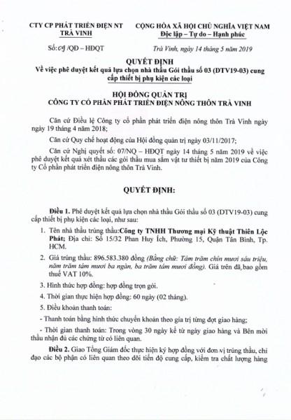 Quyết định về việc phê duyệt kết quả lựa chọn nhà thầu Gói thầu số 03 (DTV19-03) cung cấp thiết bị phụ kiện các loại.
