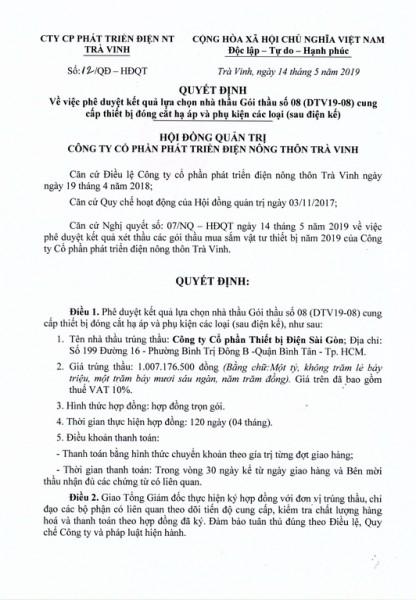 Quyết định về việc phê duyệt kết quả lựa chọn nhà thầu Gói thầu số 08 (DTV19-08) cung cấp thiết bị đóng cắt hạ áp và  phụ kiện các loại.