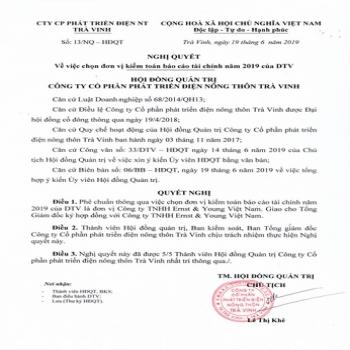 Nghị quyết số 13 ngày 19-06-2019 của HĐQT về việc chọn đơn vị kiểm toán độc lập.